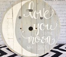 upcycled cable spool as painted nursery art