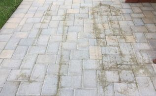q how do i clean pavers stained by a hose trellis dirt laying on them