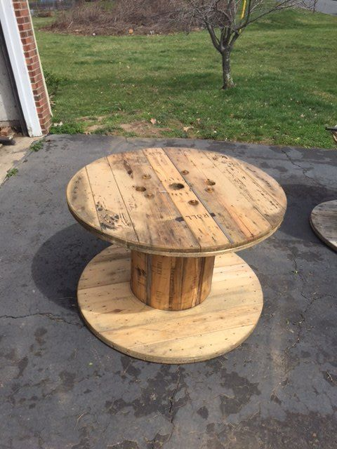 Up cycled wood spool serving table hometalk for Large wooden spools used for tables