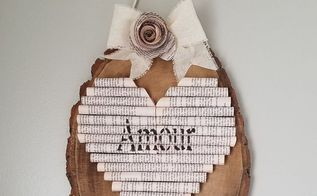 be still my heart book page and wood heart decor