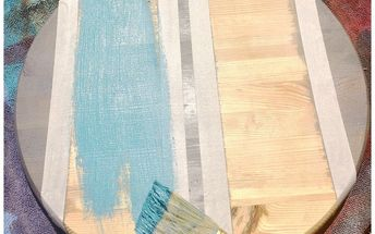 from rusted umbrella stand to patio table, Use painters tape to create striped sections