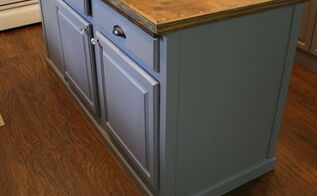 upcycled kitchen island with a reclaimed wood top