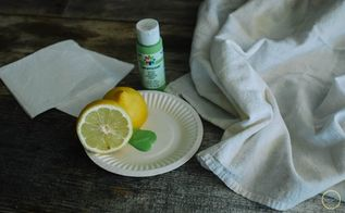 lemon stamped tea towel