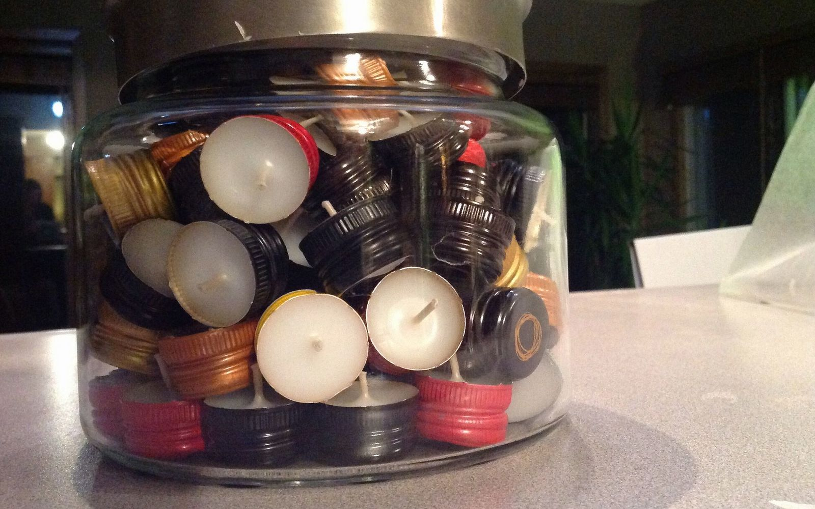 s save your bottle caps for these x crazy cool ideas, A Playful Candle