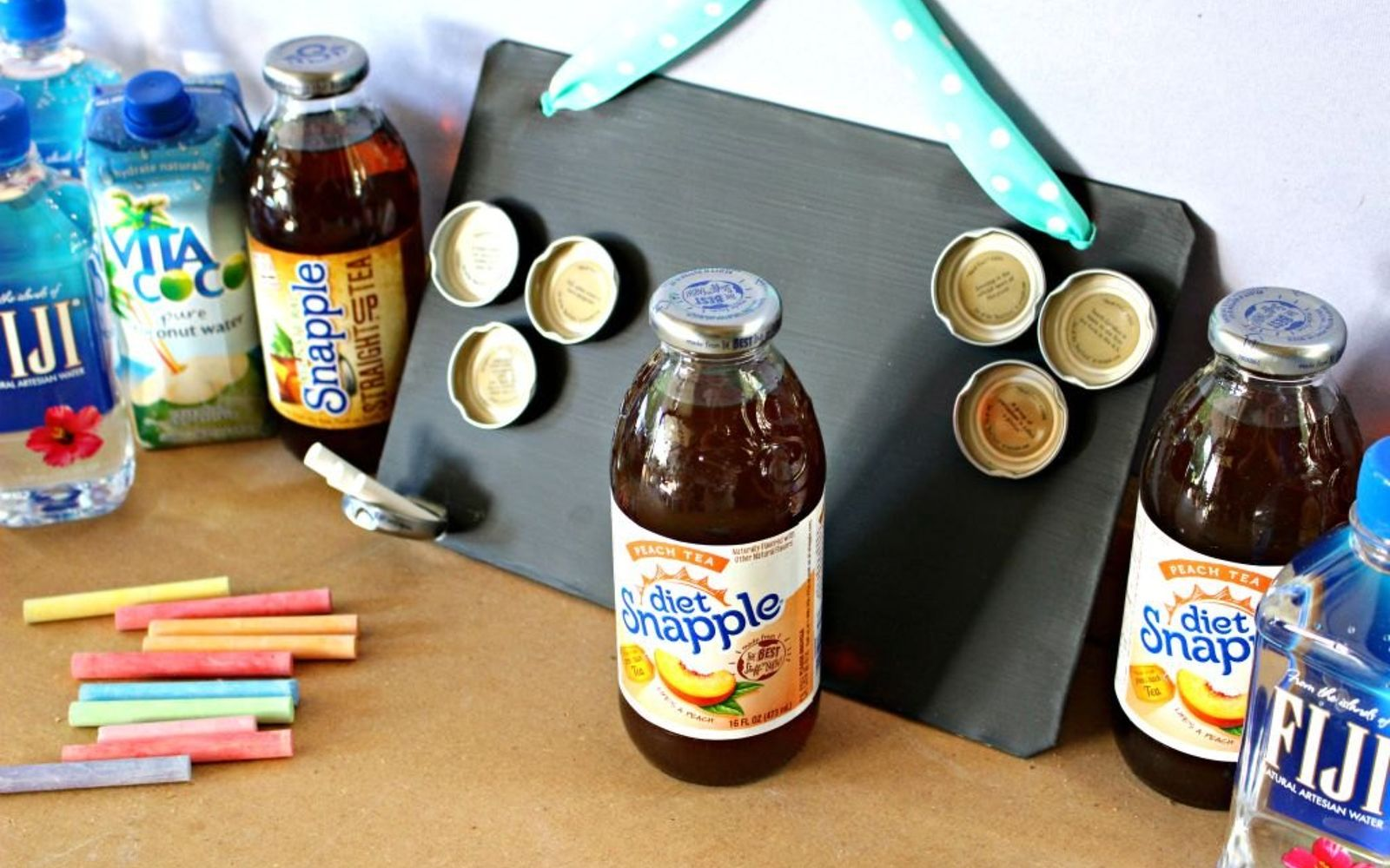 s save your bottle caps for these x crazy cool ideas, A Magnetic Chalkboard For The Kitchen