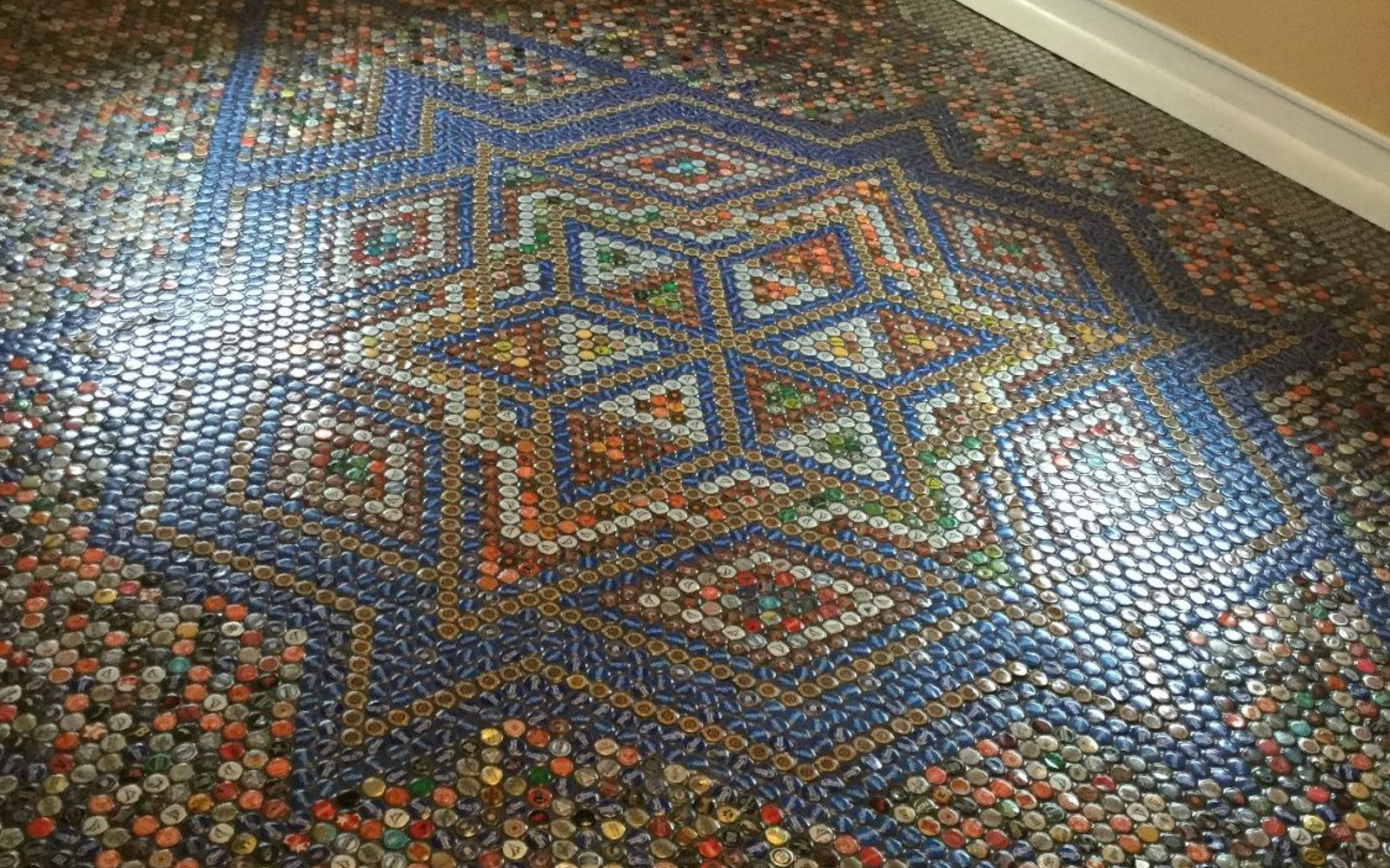 s save your bottle caps for these x crazy cool ideas, A Bottle Cap Floor