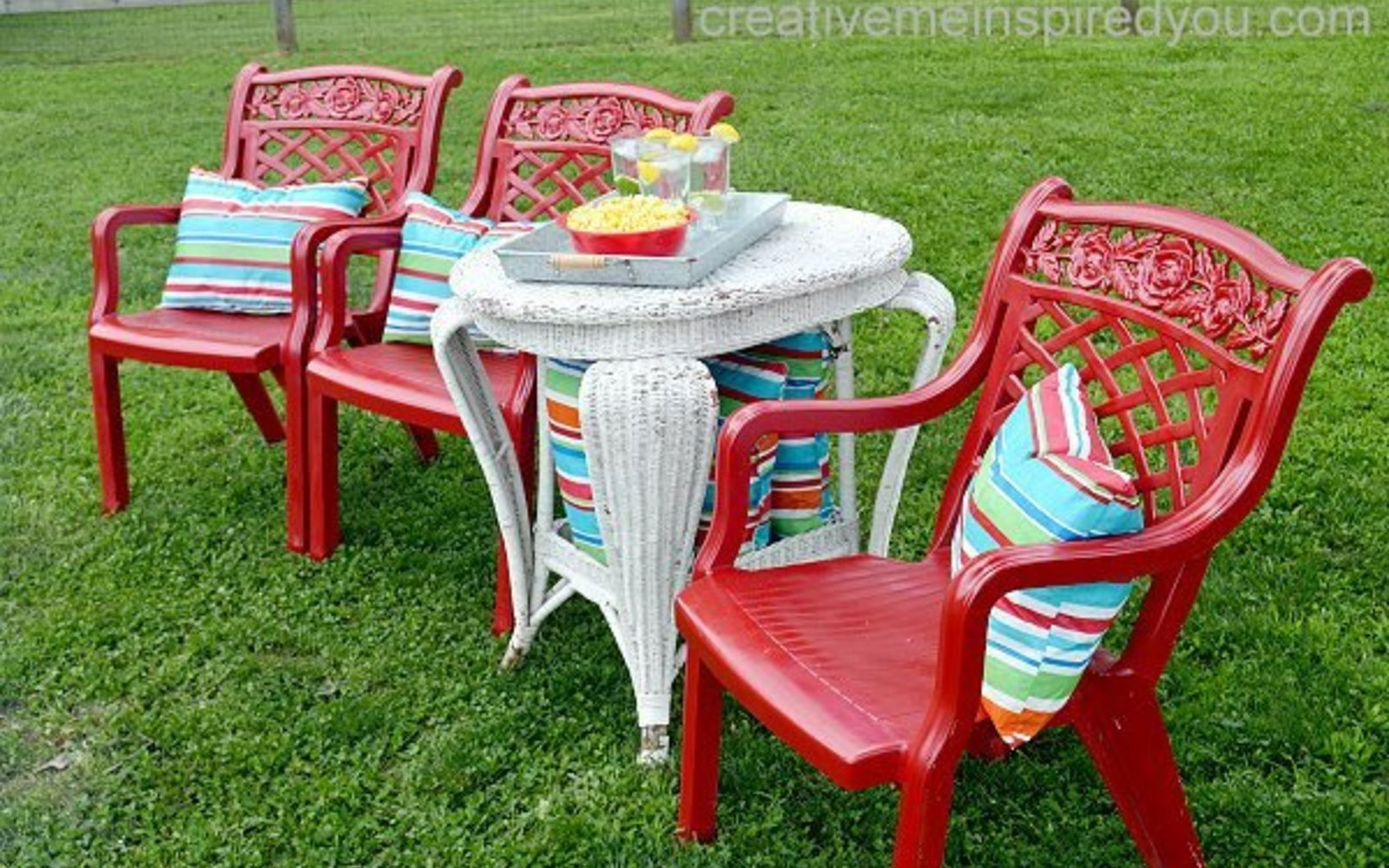 s 12 pool chair ideas we never would have thought of, Paint The Chairs A Bright Color