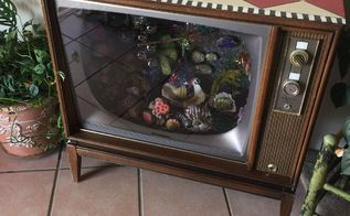 vintage tv faux aquarium