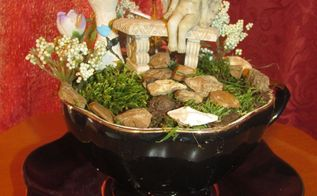 mini fairy garden in a tea cup