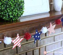 patriotic stars and stripes pom pom garland