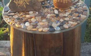 pebble topped five gallon bucket table