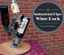 diy pipe and wood wine rack
