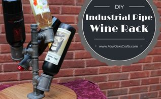 diy pipe and wood wine rack