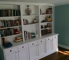 built in bookcase hack using kitchen cabinets and bookcases