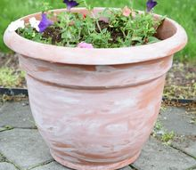 white washed pots for the patio