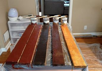 pallet board kitchen island and backsplash