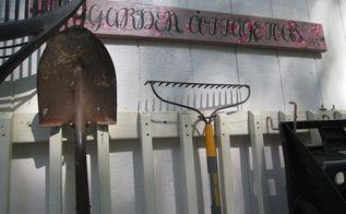 old deck railing for garden storage