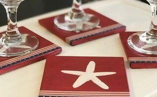 patriotic starfish coasters