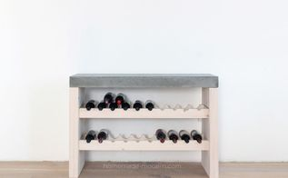 diy wine bar with concrete countertop