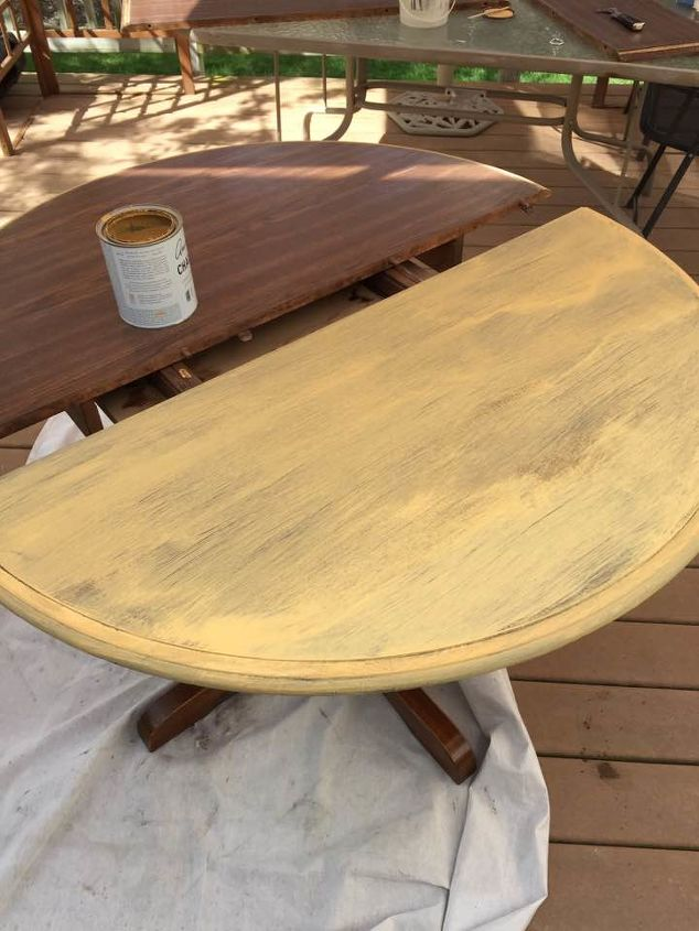 Painting laminate veneer french country table hometalk for Can you paint formica table top