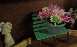 a cute little park bench plant stand