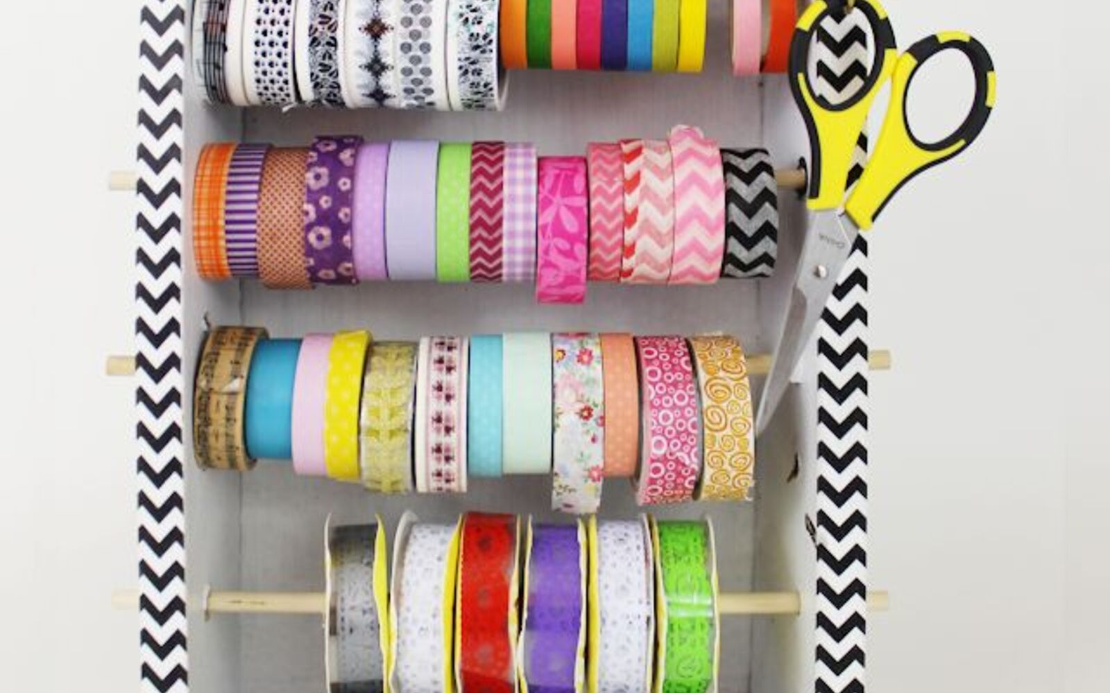 s 30 fun ways to keep your home organized, Craft A Dispenser For Washi Tape From A Box