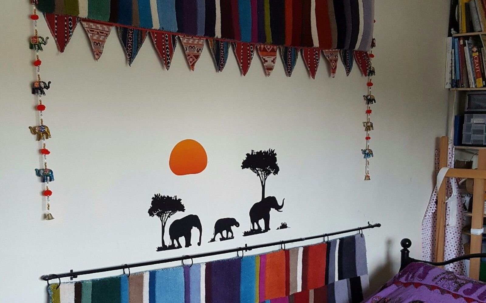 s 15 makeovers that will make you rethink your bedroom, Feature Bohemian Elephants On Your Walls
