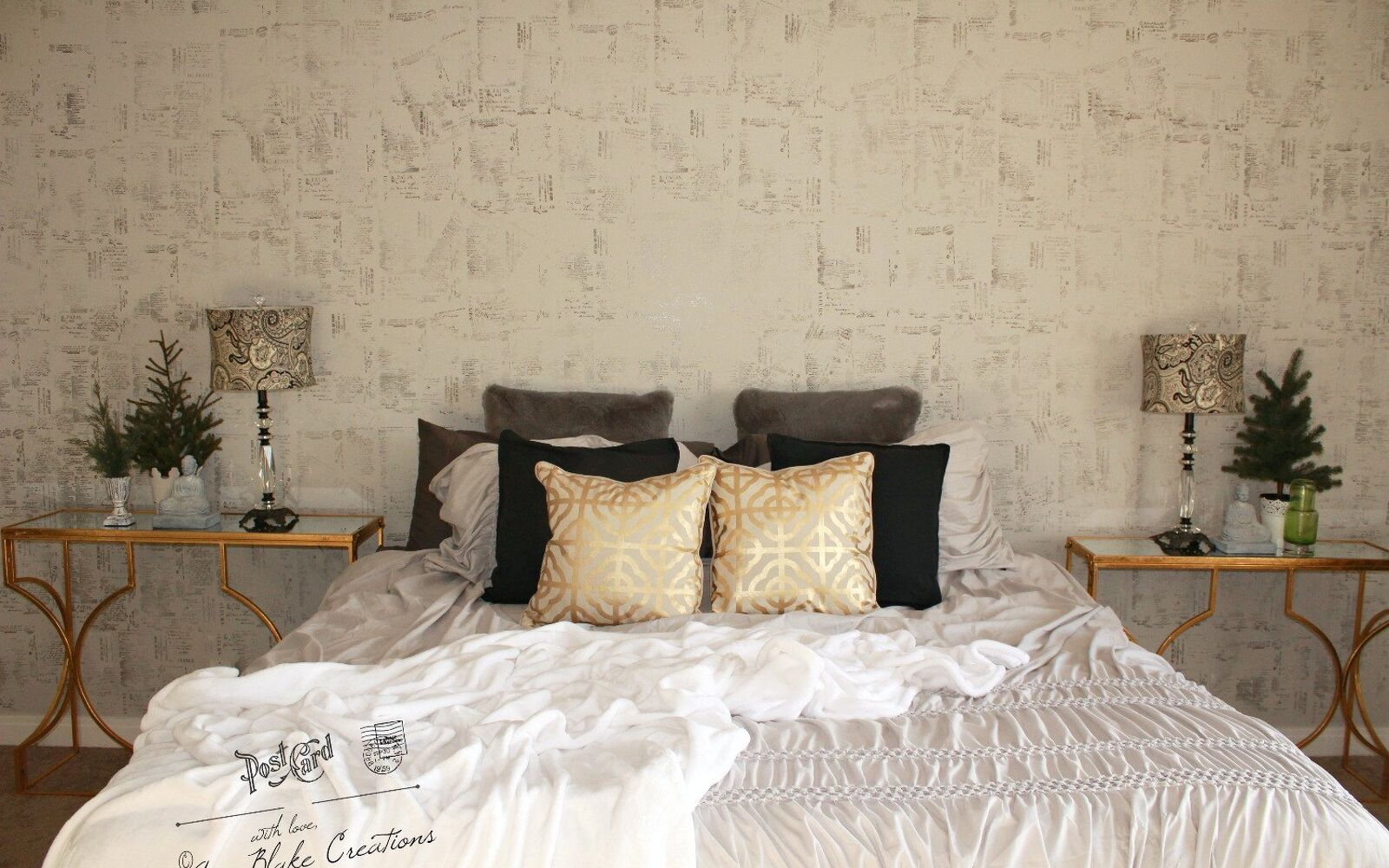 s 15 makeovers that will make you rethink your bedroom, Press Stamps On The Walls For Texture