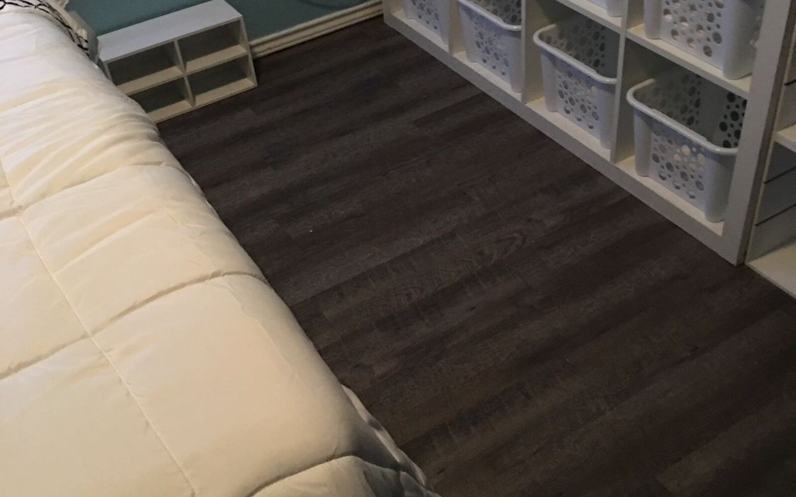 s 15 makeovers that will make you rethink your bedroom, For A New Look Peel And Stick On Vinyl Floor