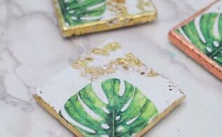 palm leaf tile coasters