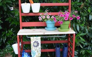 repurposed toddler bed becomes a diy potting bench trash to treasure