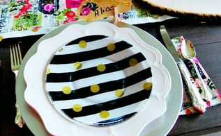 diy french black white stripe plates
