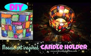 diy candle holder inspired by mosaic art