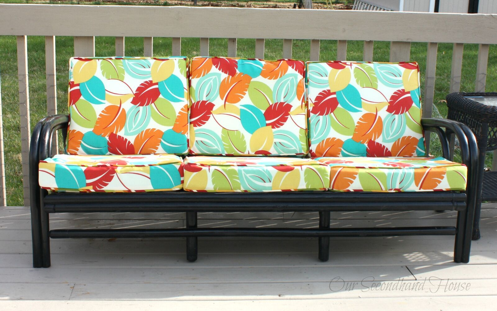 s hide your couch s wear and tear with these great ideas, Thrift store rattan sofa makeover