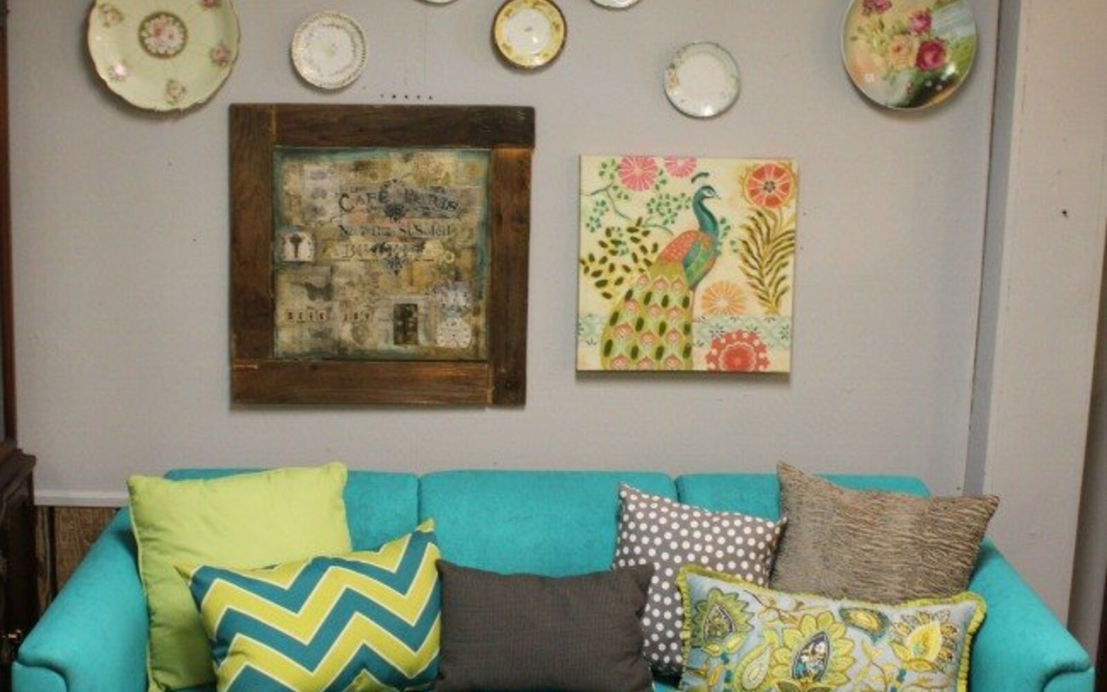 s hide your couch s wear and tear with these great ideas, Spray painted sofa