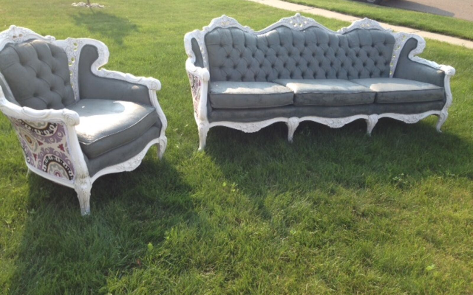 s hide your couch s wear and tear with these great ideas, Painting an antique couch and chair set