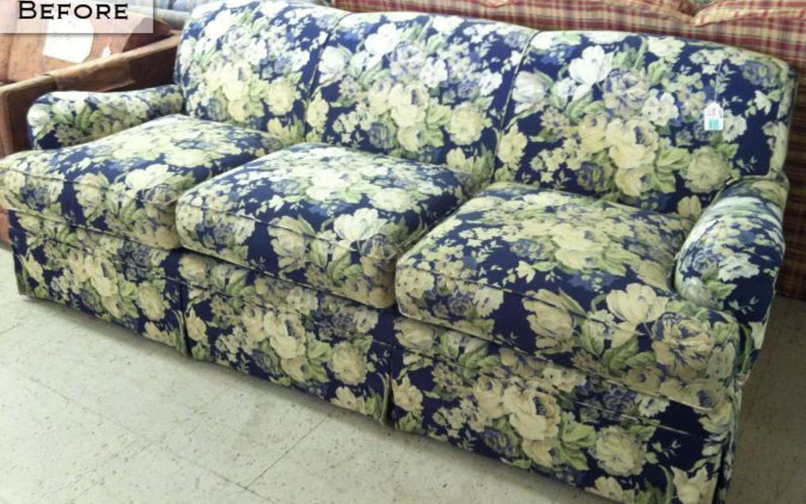 s hide your couch s wear and tear with these great ideas, Painted and upholstered sofa