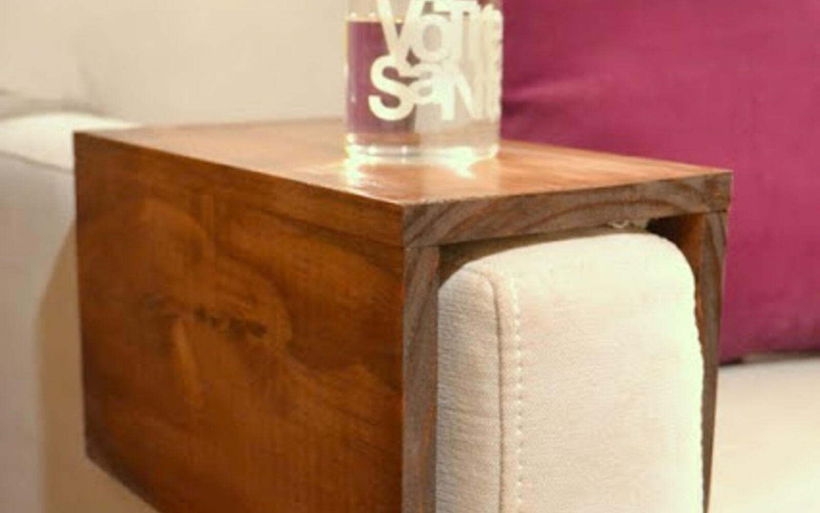 s hide your couch s wear and tear with these great ideas, Add a wooden couch sleeve