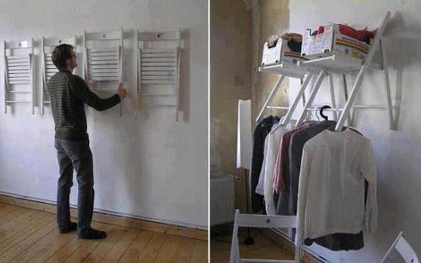s 32 space saving storage ideas that ll keep your home organized, Hang folding chairs as stowable shelving