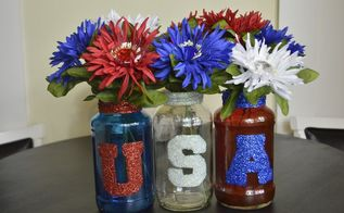 4th of july usa table centerpiece spaghetti sauce jar upcycle