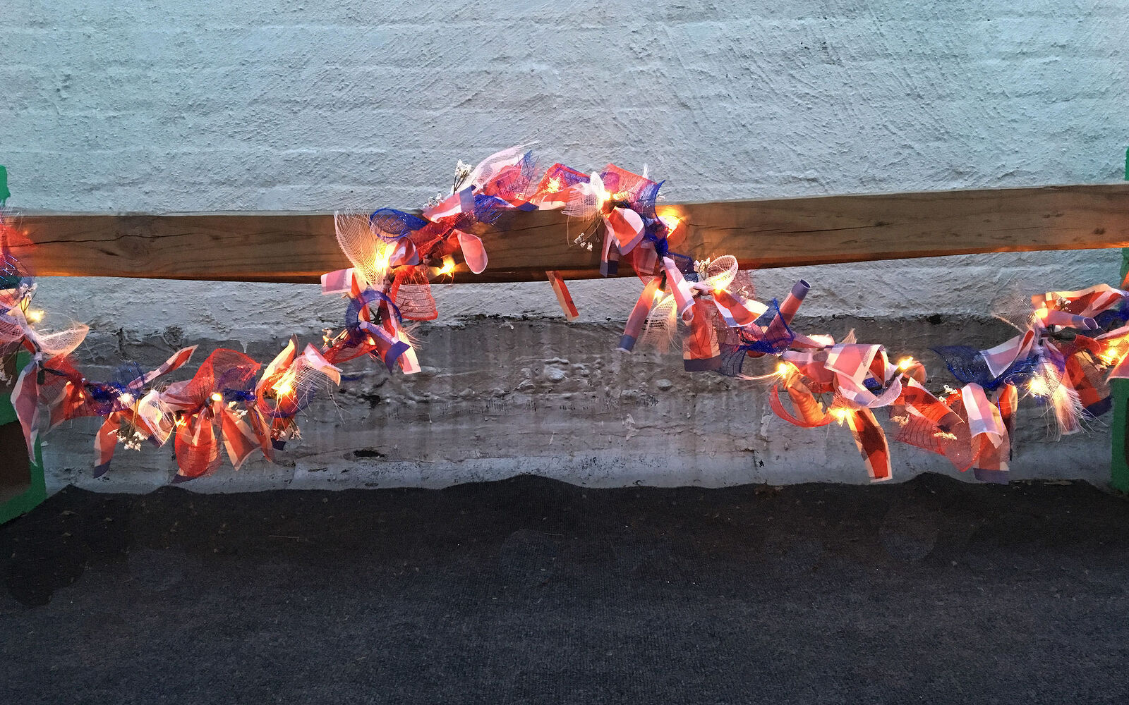 s 30 adorable diy ideas for july 4th, Tie red white blue mesh on string lights