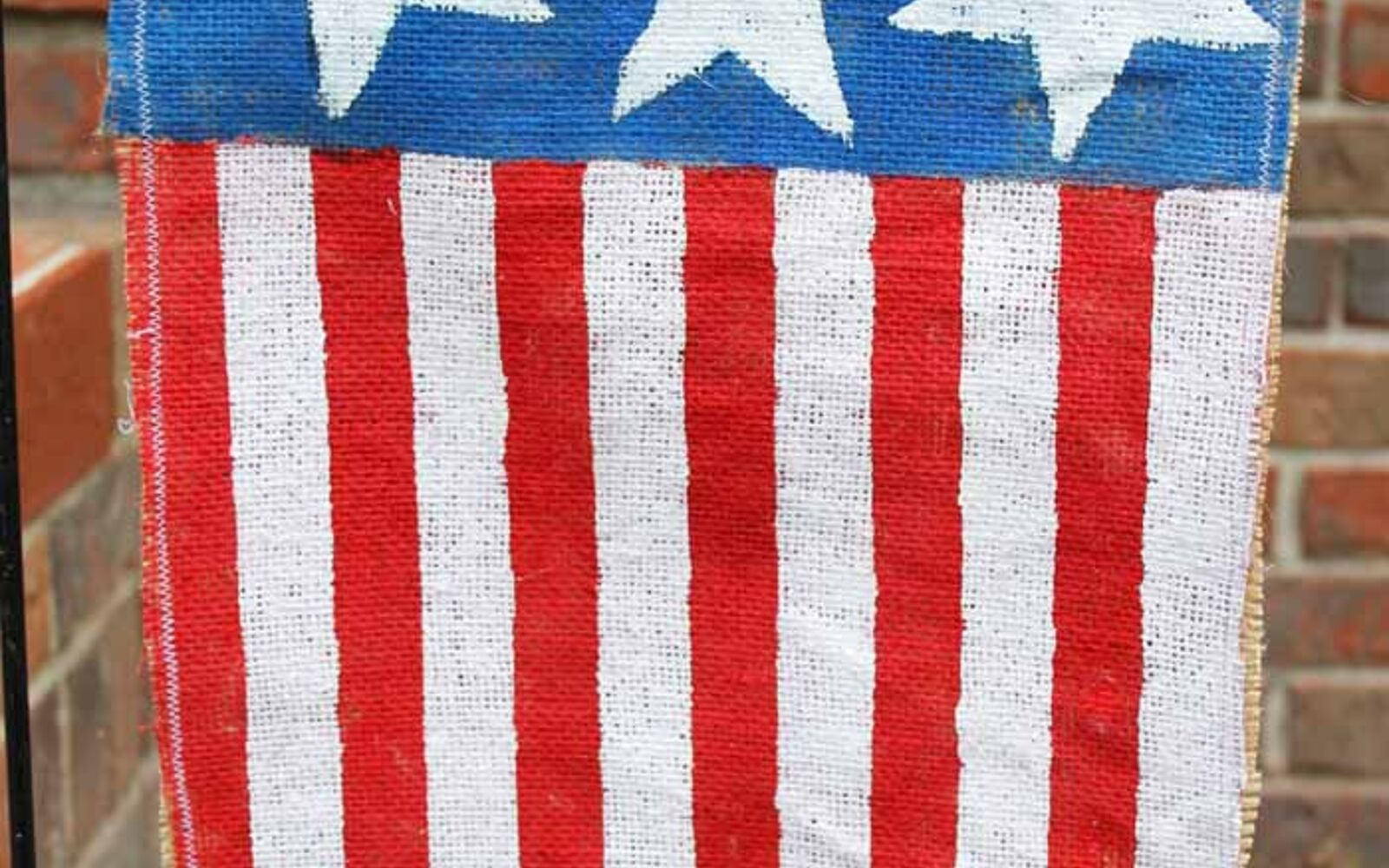 s 30 adorable diy ideas for july 4th, Make a cute flag from burlap
