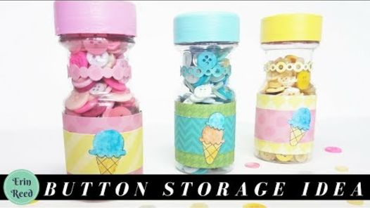 cute as a button upcycled spice jars for butto storage