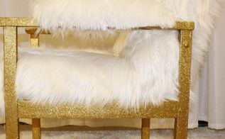 diy gold glitter faux fur chair