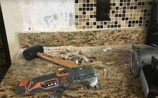 backsplash and 4 granite removal
