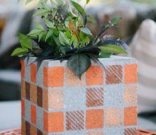 cinder blocks turned flower pots