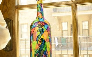 faux stained glass wine bottle using food coloring
