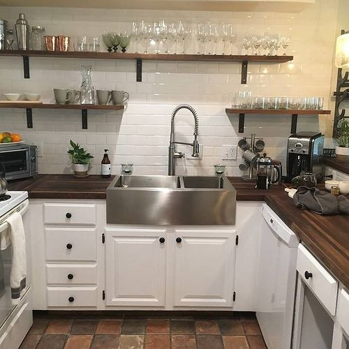 Ikea butcher block countertops with white cabinet