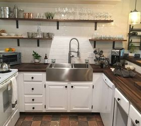 new walnut butcher block two large subway tile walls with walnut shelving and painted lowers