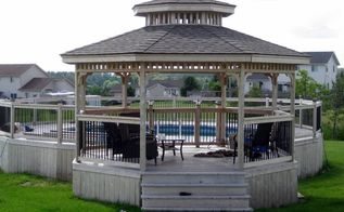pool deck and gazebo